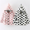 2016 New arrive Autumn Baby Girls Polka Dot Hooded Outerwear Coat cotton beautiful baby clothes
