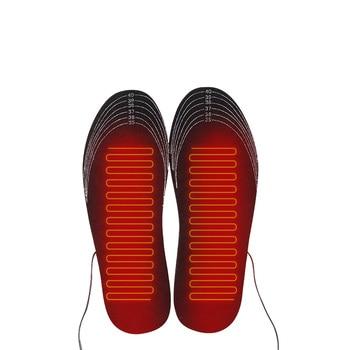 1 paire USB semelles chauffantes pied coussin chauffant pieds plus chaud chaussette tapis hiver Sports de plein air chauffage chaussures semelles hiver chaud