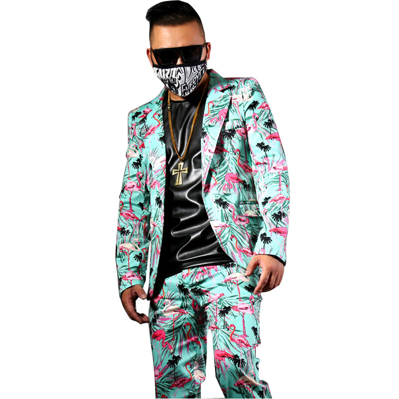 Custom Made Men Fashion Casual Suit Sets (jacket+pant) Male Slim Fit Dress Blazer Jacket Hip Hop Costume Stage Clothing