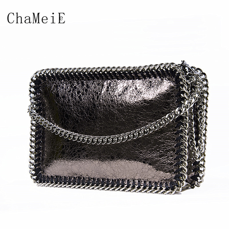 Women Fashion Designer Small Flap Bag PVC Chain Messenger Bag Famous Brand Messenger Bag Zipper Fold Over Shoulder Bag Bolsa