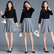 2019 glitter autumn Winter Women sweater skirt shiny High Waist Pleated mini knitted Skirt A-line female bling short Skirts Gray