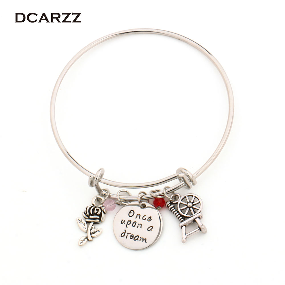 "Sleeping Beauty Charm Bracelets ""Once Upon A Dream""Letter Bangle Princess Aurora Anime Jewelry"