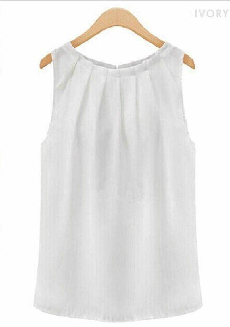 ノースリーブシフォンブラウスシャツ夏クリンクル O-ネック女性ブラウスカジュアルタンクトップス Blusa Feminina ファッショントップスシャツ
