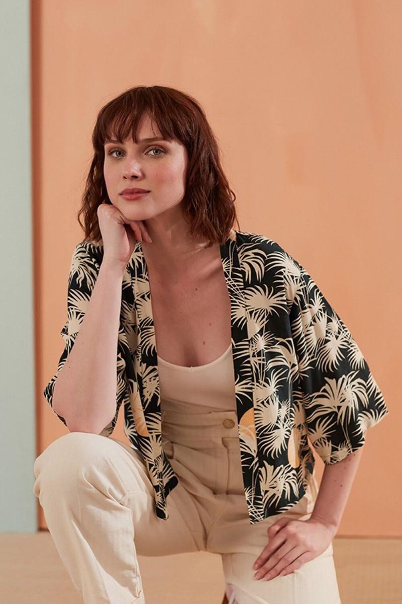 2019 New Women Cardigan Blouse Top Half Sleeve Print Summer Sweet Coat