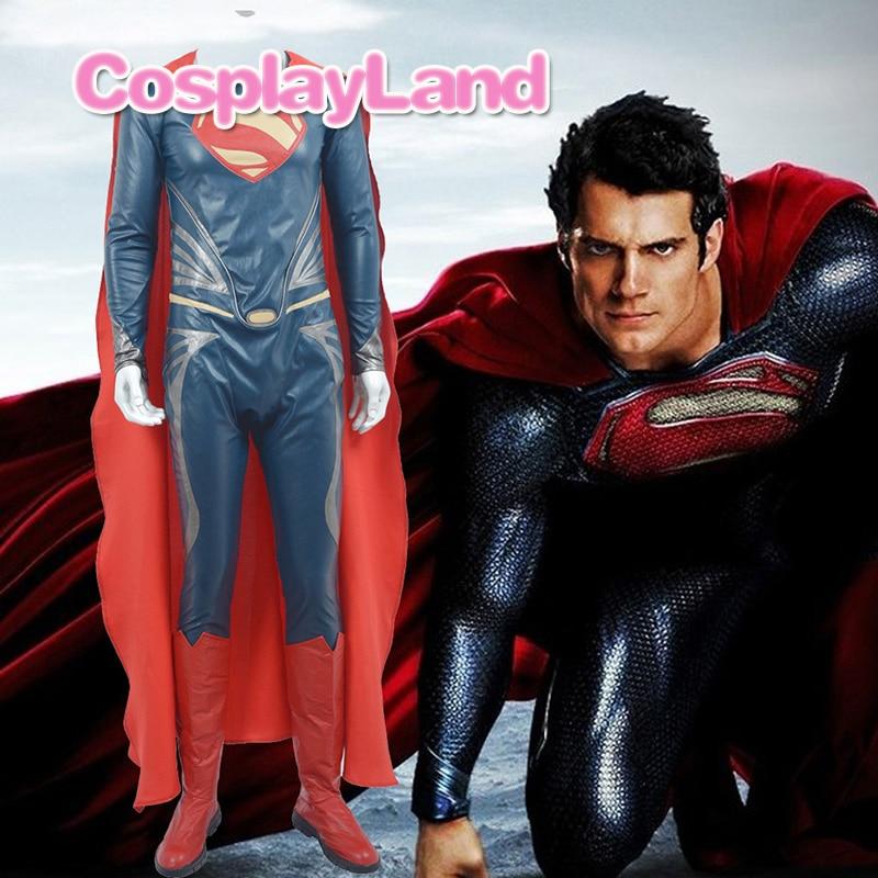 2017 Superman Cosplay Costume Adult Batman v Superman Dawn of Justice Cosplay Costume Superman Suit Leather Custom Made Jumpsuit