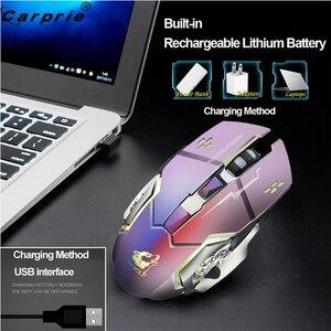 Image 5 - Wiederaufladbare X8 Wireless Gaming Maus 2400DPI Stille Noiseless LED Backlit USB Optische Ergonomische Gaming Mäuse Stumm 90214