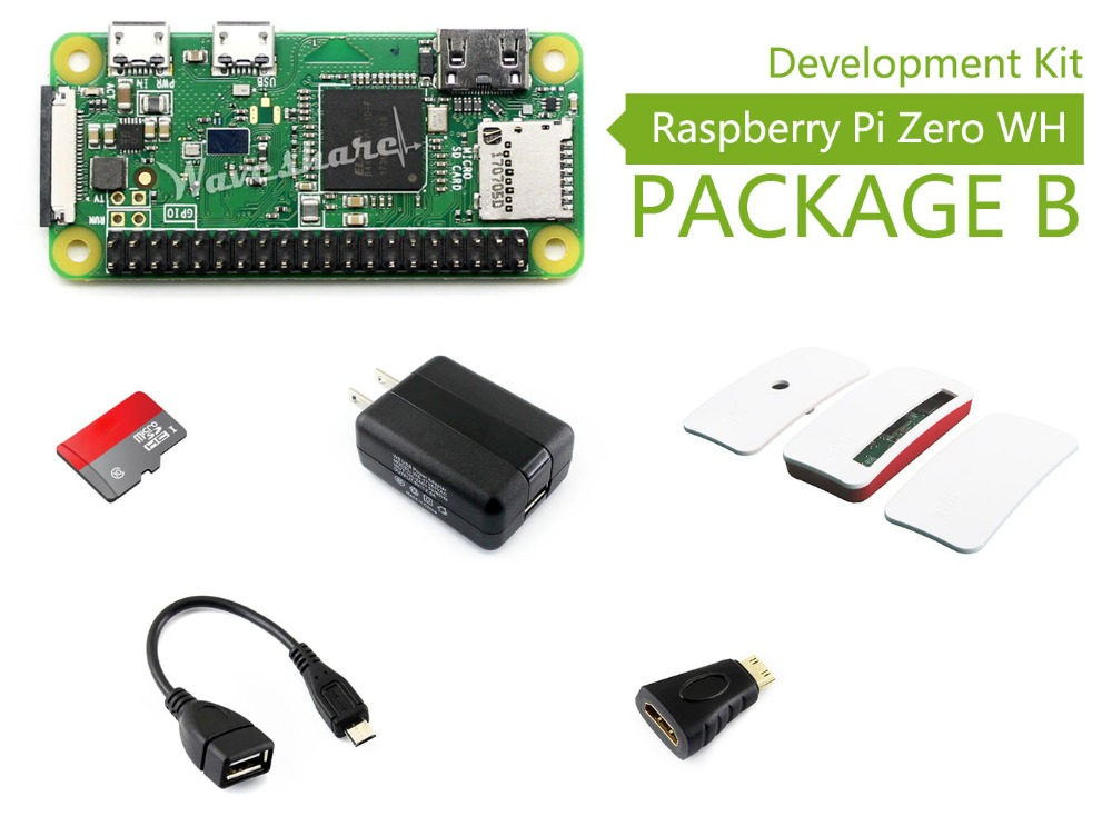Waveshare Raspberry Pi Zero WH Package B including mini PC Raspberry Pi Zero WH Micro SD Card Official Case Power Adapter etc raspberry pi zero wh built in wifi pre soldered headers type b micro sd card power adapter official case basic components