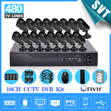 16ch home security 16pcs 480TVL video surveillance camera kit 16ch CCTV DVR recording with HDMI 1080P 1tb HDD 1tb system SK-166