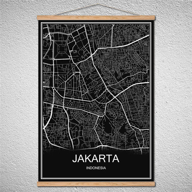 customized pattern jakarta world city map abstract print picture oil
