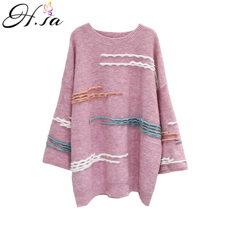 6317c1d66f H. SA Mulheres Chic Colorido Pullover e Blusas Alargamento Manga Oneck  Streetwear Oversized Jumpers 2018