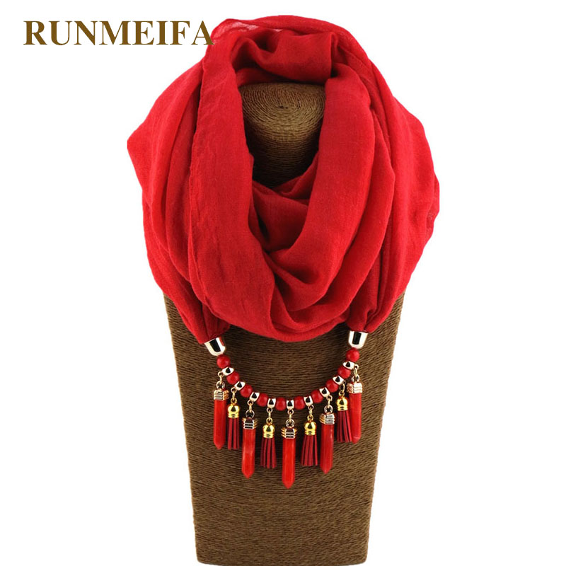 RUNMEIFA Necklace Jewelry Scarf Solid Color Cotton/Hemp Charms Shawl Pendant Women Jewelry Columnar Pendant Free Shipping