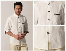 White Traditional Chinese style Men's Cotton Linen Kung Fu Shirt Top Clothing Size S M L XL XXL Free Shipping