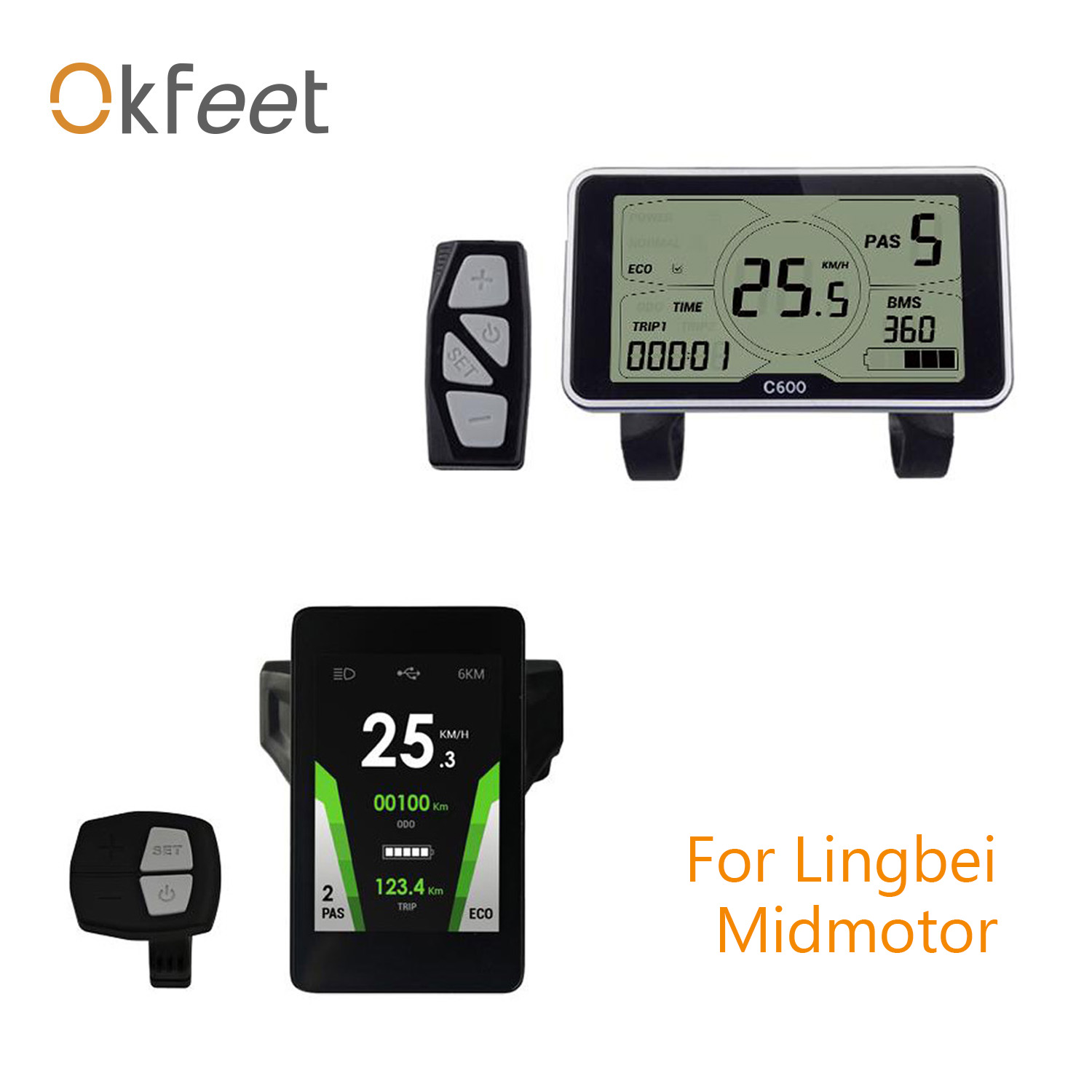 Okfeet C600 C800 LCD Display For GP Lingbei LB Midmotor Bigstone Electric Bicycle Parts