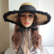 Handmade Weave Raffia Sun Hats for Women Black Ribbon Lace Up Large Brim Straw Hat Outdoor Beach Summer Caps Chapeu M228