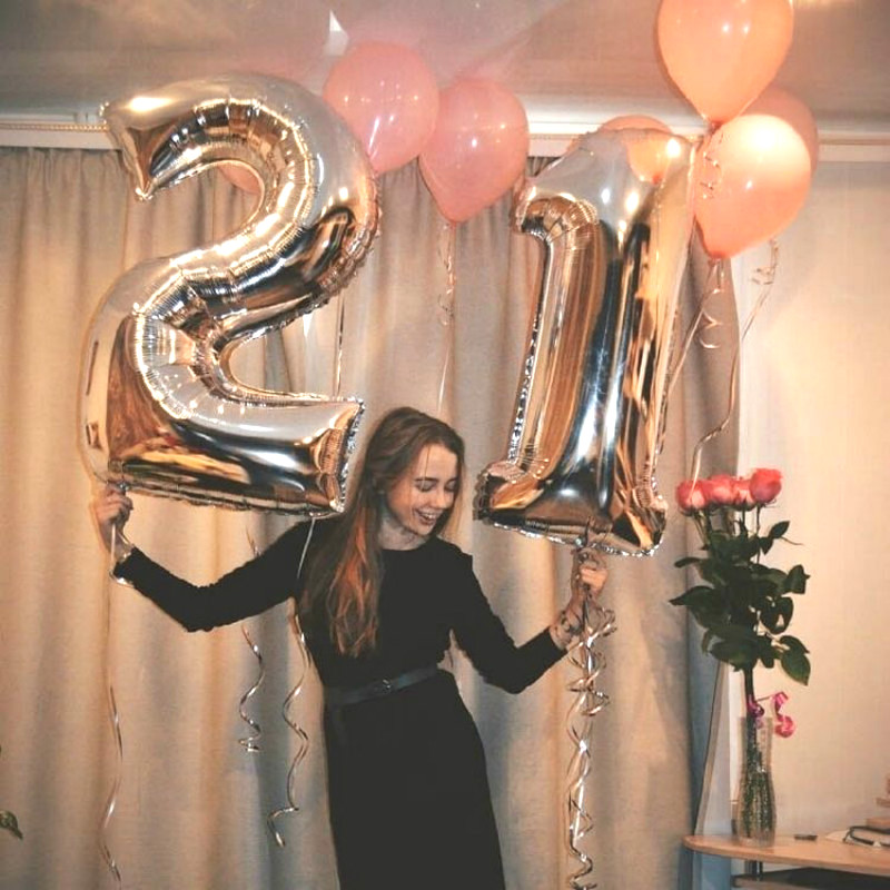 32 Inches Large Balloons For Birthday Party Rose Gold Sliver Number Foil  Wedding Decoration