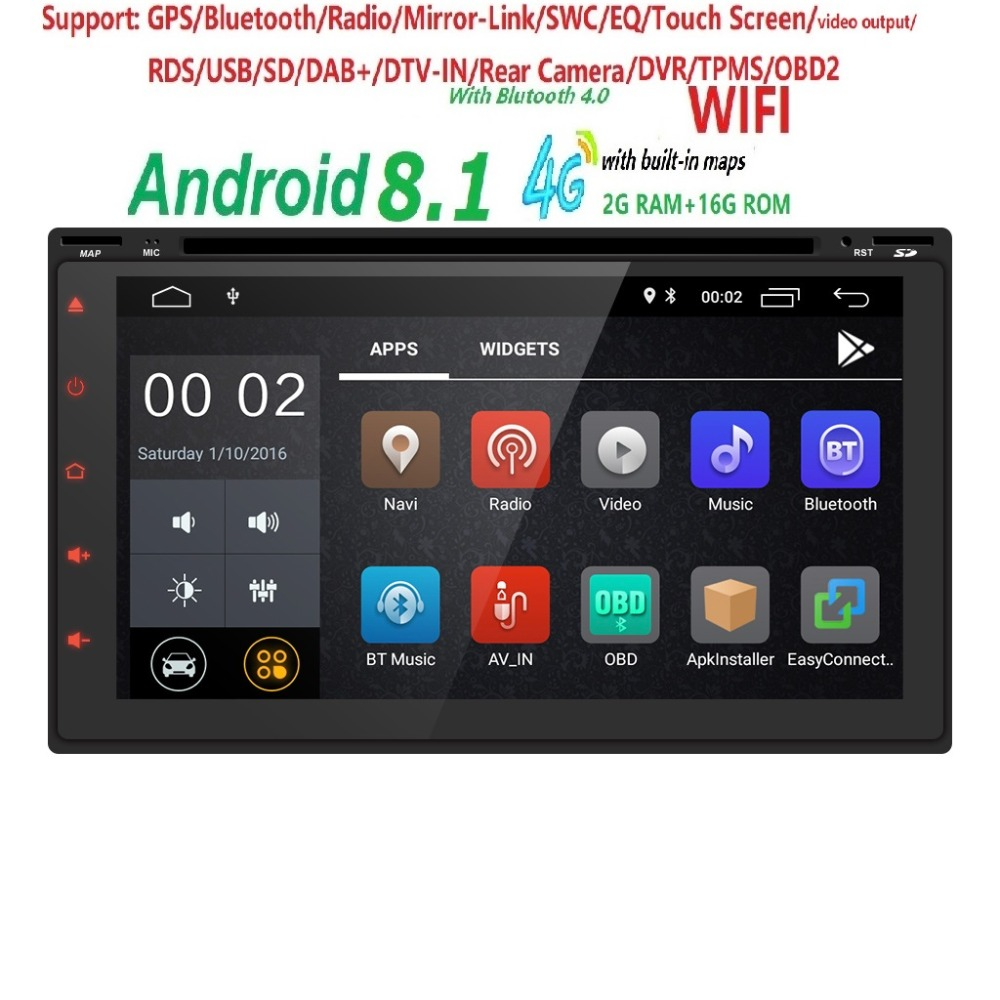 2GB+16GB Android 8.1 Auto Radio 4/QuadCore 7Inch 2DIN Universal Car DVD player GPS Stereo Audio Head unit Support DAB DVR OBD BT 10 inch 4 core 2 din universal android 7 1 1 car audio gps radio video player stereo auto bt rds head unit 2din with wifi usb sd page 3