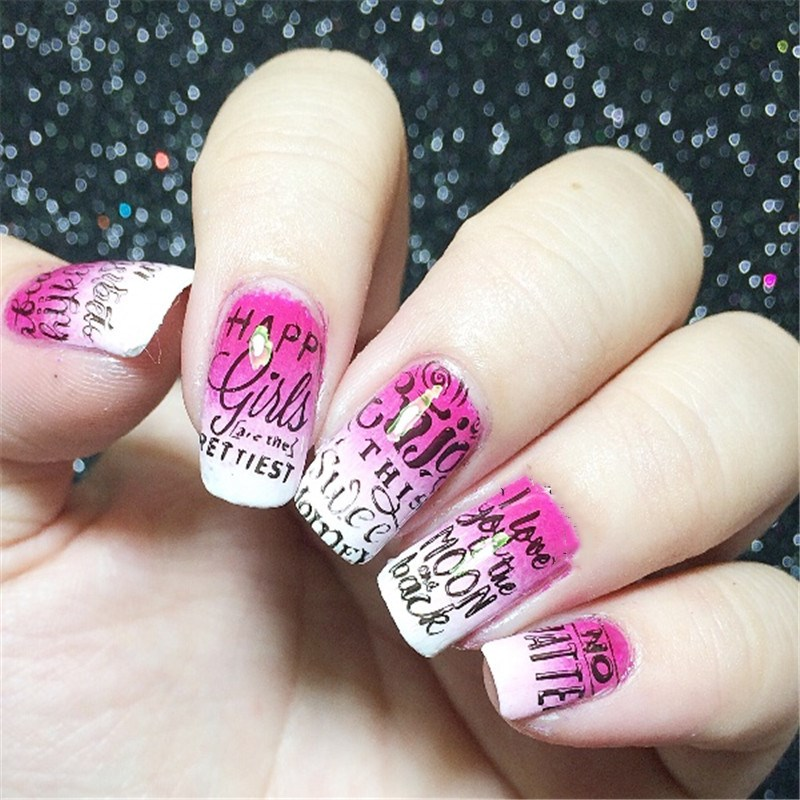 BORN PRETTY Rectangle Manicure Nail Art Stamping Template Letters ...
