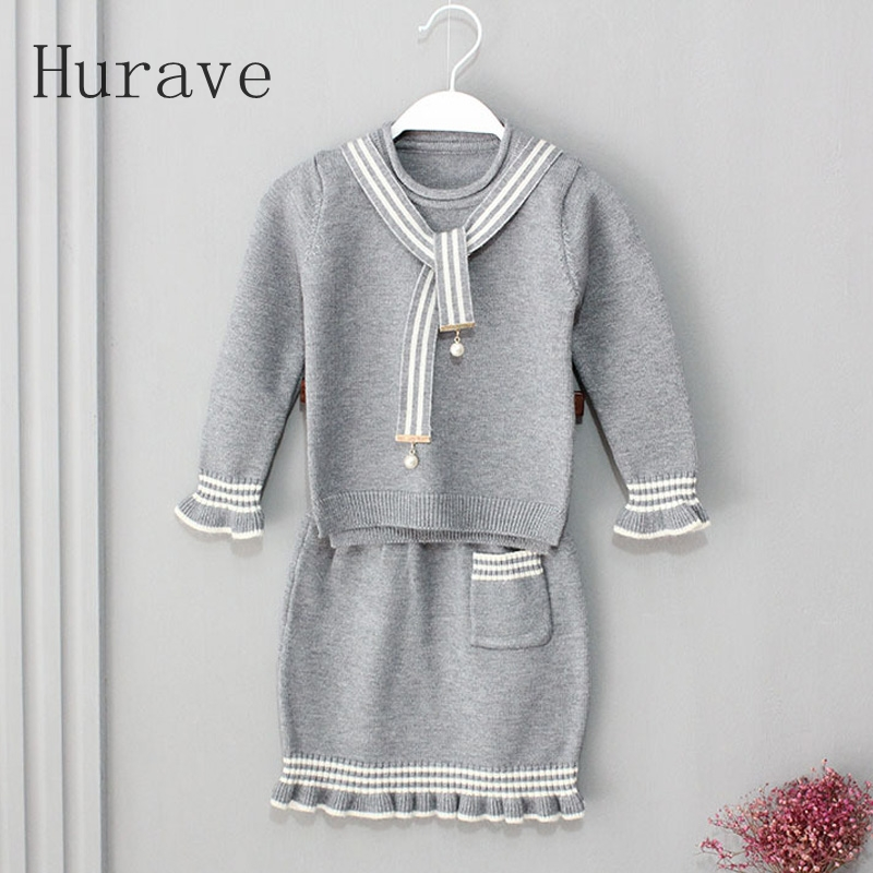Hurave 2017 fashion baby girls autumn clothing sets 2pcs girls spring clothes set toddler kids suit set tracksuit set hurave autumn baby girl clothing suit warm kids clothes fox top pants long sleeve shirts lovely girls clothing thick 2pcs sets