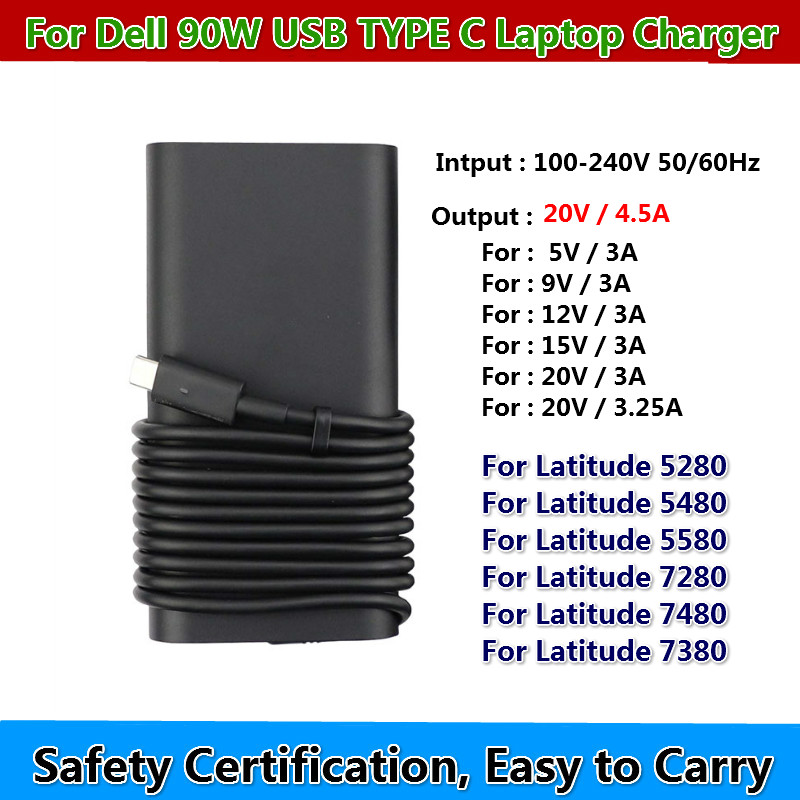 New <font><b>20V</b></font> 4.5A 90W USB Type C Power <font><b>Ac</b></font> <font><b>Adapter</b></font> Charger Laptop for Latitude 5280 5480 5580 LA90PM170 TDK33 0TDK33 Laptop Charger image