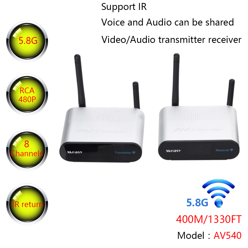 MEASY AV540 AV RCA Sender 5.8GHz 8 Channel 400m/1330FT Wireless Audio Video Transmitter and Receiver with IR Remote Control