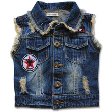 6047 BABY DENIM Vests Waistcoats baby boys fashion kids clothing baby children's clothes spring&autumn Outerwear & Coats