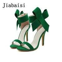 Jiabaisi Sandals Shoes Women Heels Sweet Butterflyknot 9cm Supper High Heel Summer Sandal Cool Zipper Thin