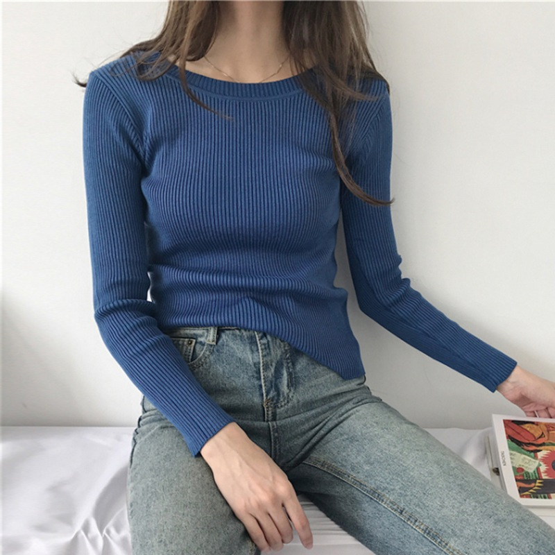 Autumn Women Slim Fit ONeck Sweaters Winter Casual Solid Sueter Mujer Invierno Long Sleeve Knitted Pullovers Tops Female Sweater