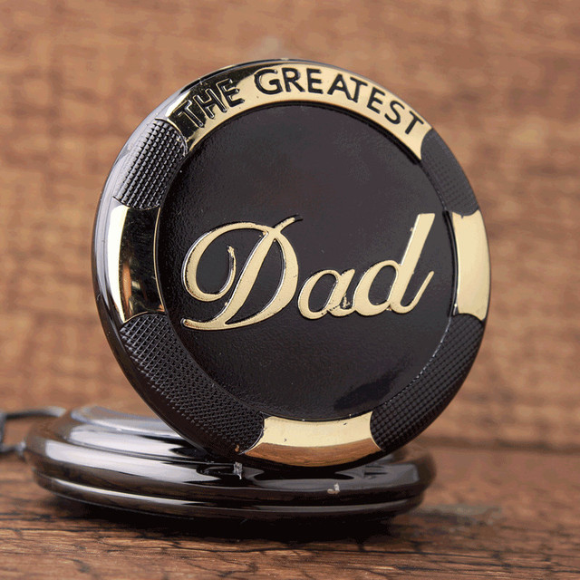 Vintage Black Golden Luxury THE GREATEST DAD Quartz Pocket Watch Fob Chain Necklace Men's Fathers Gifts Clock Relogio De Bolso