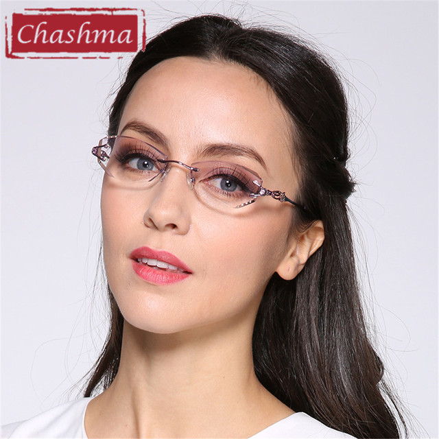 a86c7d73010 Chashma Brand Luxury Tint Lenses Myopia Glasses Reading Glasses Diamond  Rimless Prescription Glasses Frame Women Eyeglasses