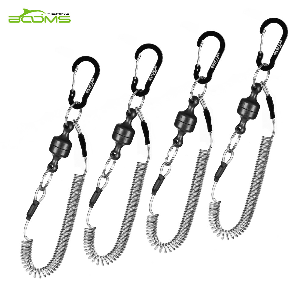 Booms Fishing MRC Magnetic Release Clip Net Holder with Fishing Tool Coiled Lanyard 1.5m Black booms fishing hs1 multi groove fish hook sharpener with lanyard