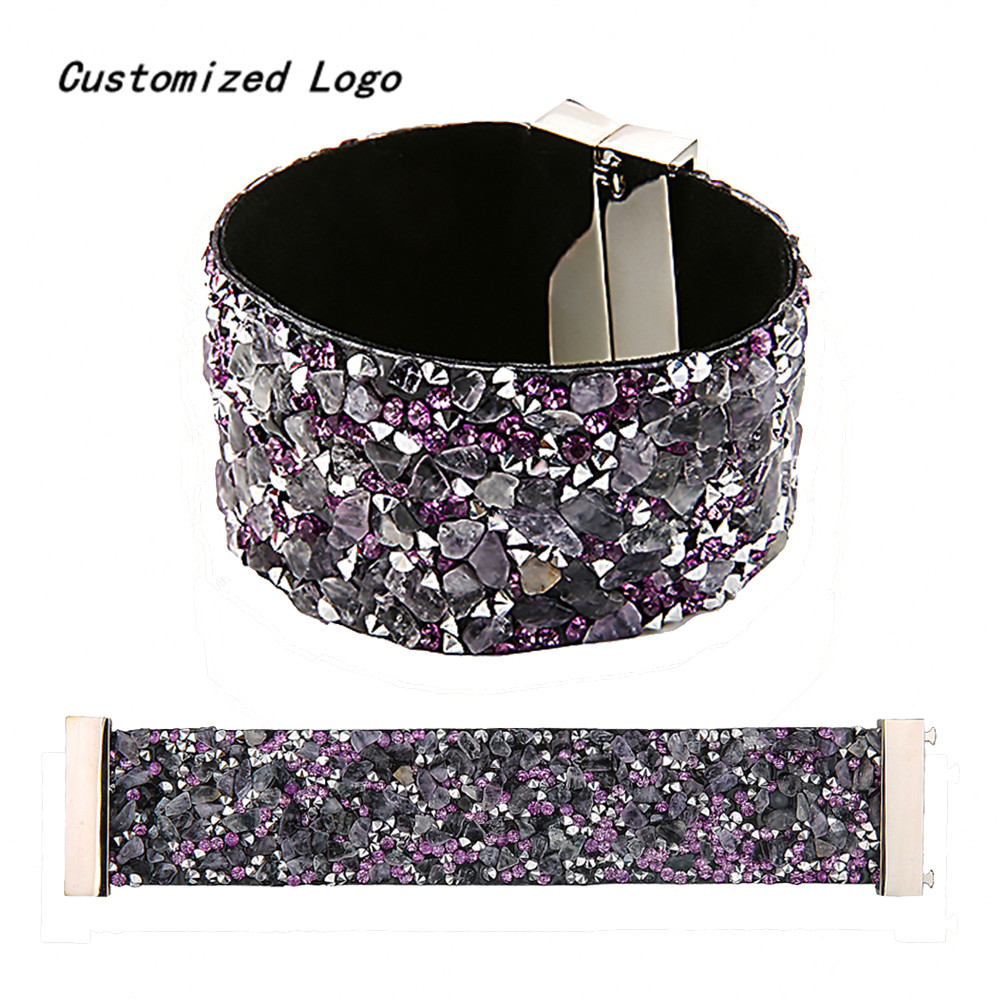Bohemia Style Vogue Magnet Clasp High Quality Natural Stone Women Men Bracelet&Bangle Leather Belt Bracelet Customize Logo