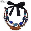 Vedawas Fashion Double Geometric Shape Woods Beads Statement Necklace Trend Vintage Women Necklaces & Pendants Jewelry 1165