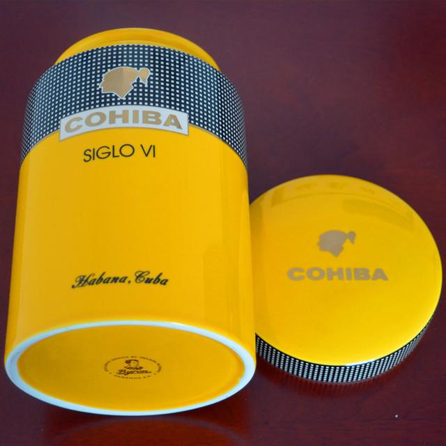 Yellow Cylindrical Porcelain Ceramic Cigar Tube Hermetic Jar Humidor
