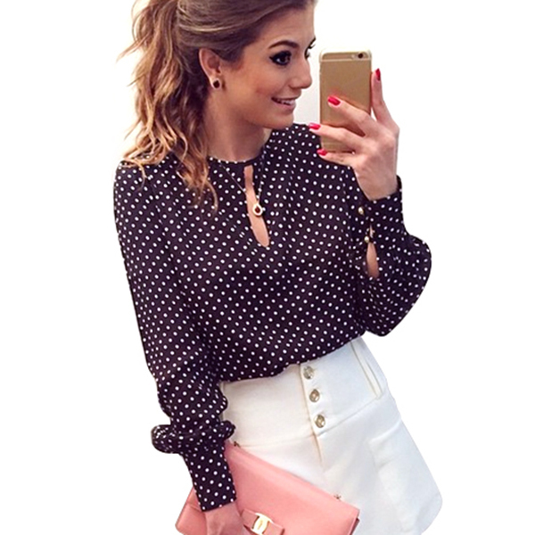 Women Polka Dots   Blouse     Shirt   Long Sleeve Slit Open   blouses   Hollow Casual Chiffon   Shirts   Women's Tops Blusas