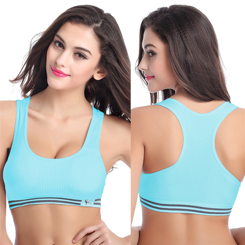 7150290705 Sexy Women Sports Bras Tank Top Athletic Vest Gym Fitness Sport Bra Stretch  No rims Padded Removable Seamless Cropped Tops-in Sports Bras from Sports  ...