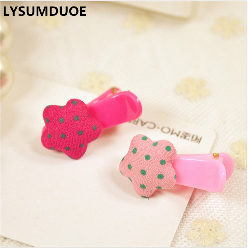 LYSUMDUOE Candy Color Hairpin Girl Hair Clips Happy Ribbon Polka Dot Barrette Cloth Hairpins Kids Hair Princess Gift Duck Clip new women girls dot hair accessories candy color double ball hairpins cute baby kids hair clip ribbon dot barrettes