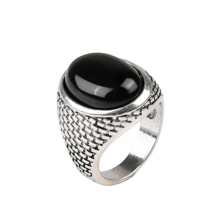 Nieuwe Vintage Punk Mannen Ring Zwarte Steen Ring Mode Ovale Vorm Zwarte Mannen Ring Voor Kerst Cadeau #1- 20037