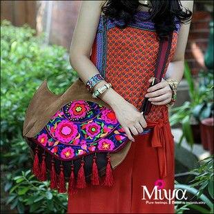 2014new Original Design Ethnic Style Hand Embroidery Ladies Handbag