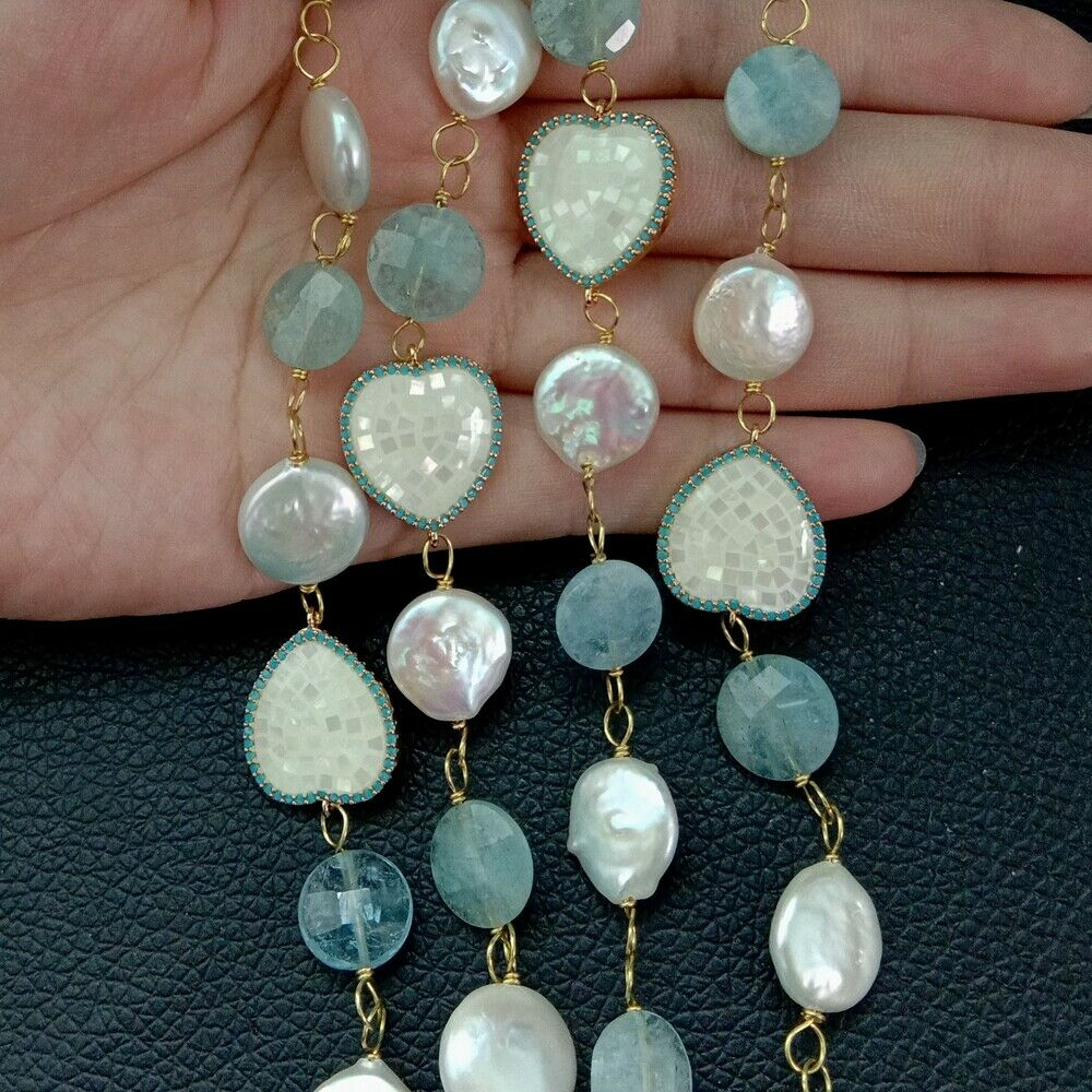 Pièce blanche perle Aquamaine connecteur de coquillage Long collier 30'' - 5