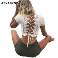 Abyabygo تي شيرت المرأة المحاصيل الأعلى ضمادة الدانتيل العنق جوفاء قمصان الصيف قمم مثير kyliejenner فاسق صخرة سوداء قمم للمرأة