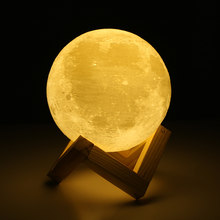 ON SALE ! Rechargeable 3D Lights Print Moon Lamp Touch Switch Moon Light Bedroom Desk Lamp Led Night Light 3d Lamp Creative Gift(China)