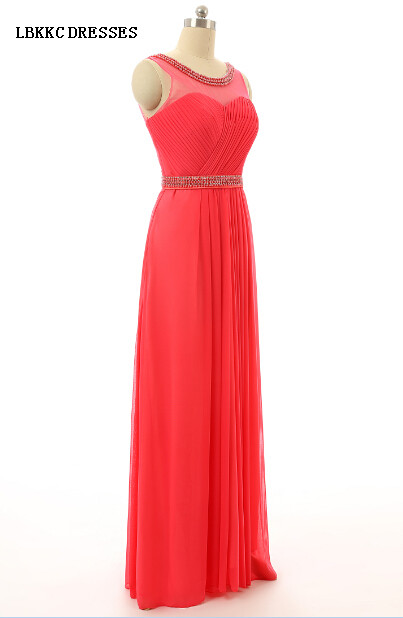 Sleeveless Floor Length Long Chiffon Ruffle Beaded Cheap Prom Dresses Vestidos Para Formatura Longo