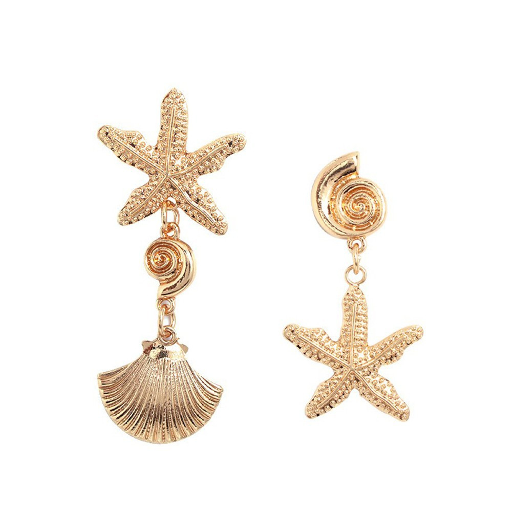 New 2019 New Gold Beach Earrings Bohemian Starfish Scallop Conch Drop Earrings For Women in Drop Earrings from Jewelry Accessories