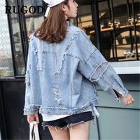 RUGOD 2019 New ripped hole jeans jacket for women Fashion frayed oversized patchwork denim coat and jacket Bomber Jackets Casaco
