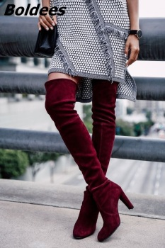 Celebrity Wear Solid Velvet Knee High Chunky Heel Boots Woman Chic Round Toe Lace Up Block Heeled Long Boots