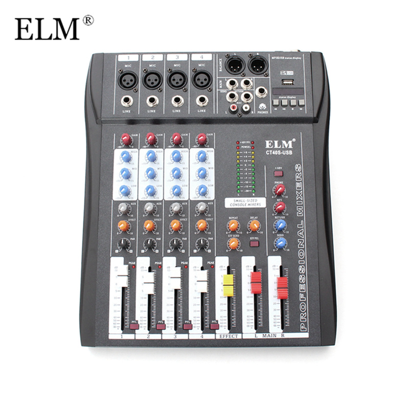 ELM Professional Karaoke Audio Mixer 4 Channel Digital Sound Mixing Microphone Amplifier Console With USB 48V