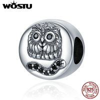 WOSTU Brand Authentic 925 Sterling Silver Wise Owl Black CZ Beads Fit Original Charm Bracelets DIY