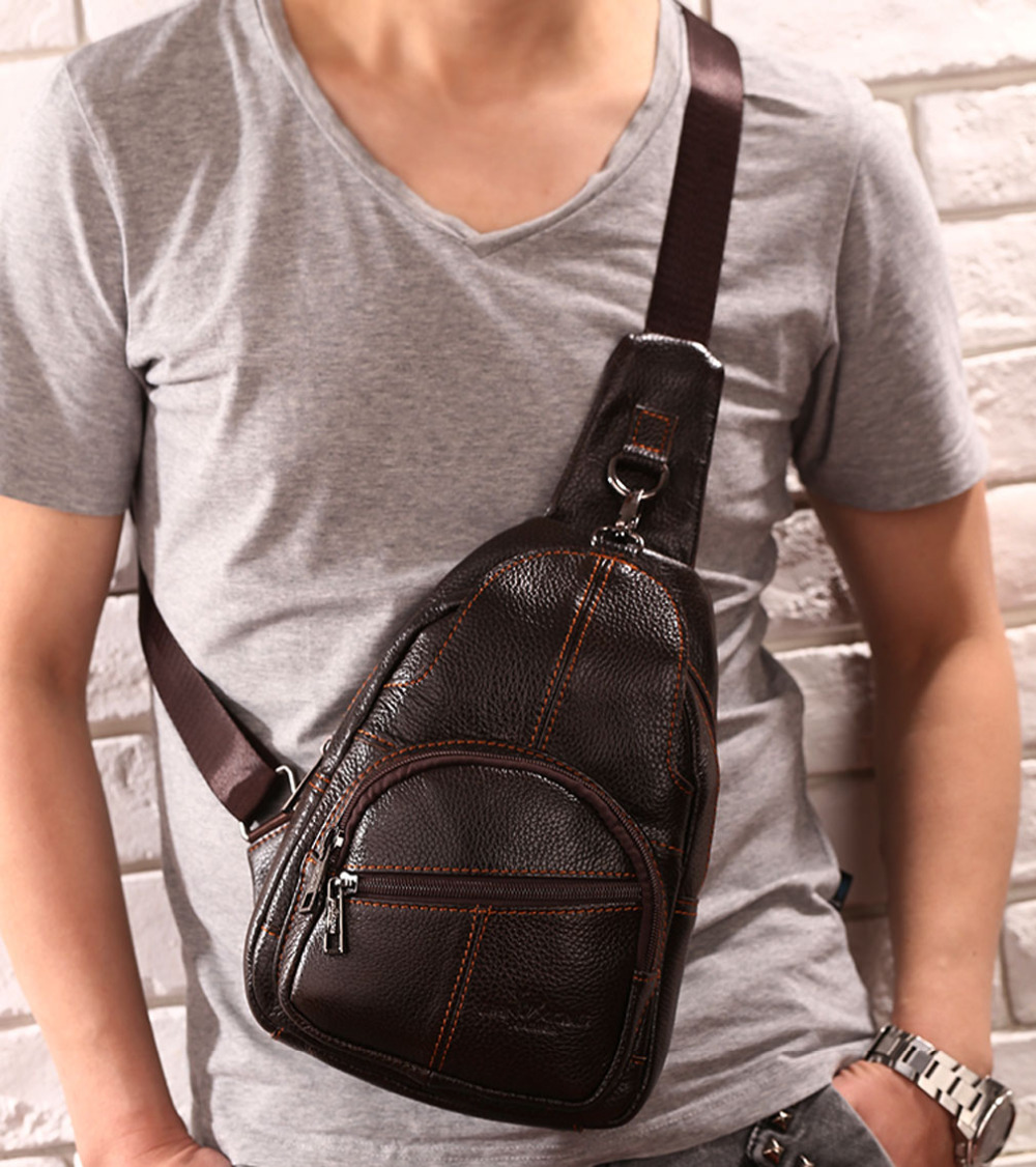 Men Vintage Genuine Leather Travel Motorcycle Cross Body Messenger Shoulder Sling Day Pack Chest Bag teemzone men s genuine leather shoulder messenger cross body satchel day fanny zipper waist pack handbag bag wallet s4001