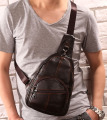 Men Vintage Genuine Leather Travel Motorcycle Cross Body Messenger Shoulder Sling Day Pack Chest Bag