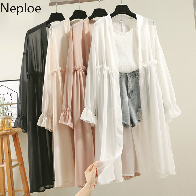 Woherb Chiffon Long Kimono Cardigan Women's Shirt Blouse Spring Pleated Solid Falre Sleeve Blusas 2020 Summer See Through Shirts